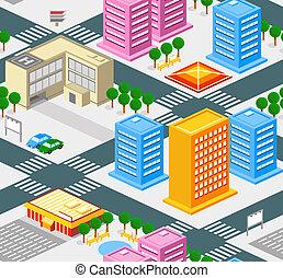 City seamless pattern - Isometric city seamless pattern with...