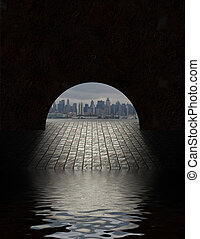City seen from tunnel opening