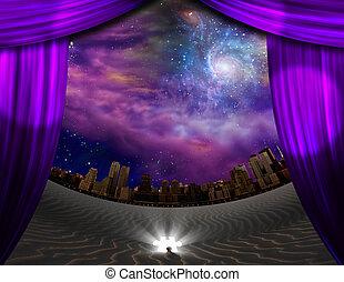 City seen through curtains in deser