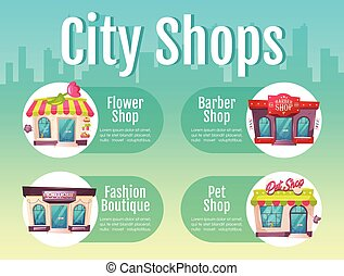 City shop flat color vector informational infographic ...