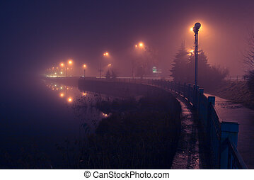 City shore in fog. Night scene.