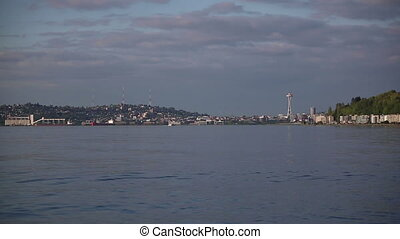 City shot of Seattle Washington view from across the water shot two