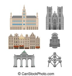 City sights. Brussels architecture landmark. Belgium country flat travel elements. Famous square Grand place with Town Hall. Cathedral of St. Michael and St. Gudula. Triumphal arch. Statue of a urinating boy