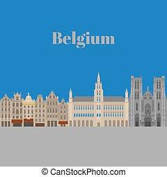 City sights. Brussels architecture landmark. Belgium country flat travel elements. Famous square Grand place with Town Hall. Cathedral of St. Michael and St. Gudula
