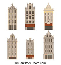 City sights. Brussels architecture landmark. Belgium country flat travel elements. Famous square Grand place. Facade historic houses