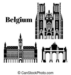 City sights. Brussels architecture landmark. Belgium country flat travel elements.