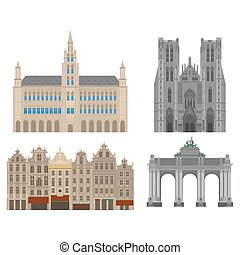 City sights. Brussels architecture landmark. Belgium country flat travel elements. Cathedral of St. Michael and St. Gudula. Town Hall on Grand Place Grote Markt. The triumphal arch in the park of the fiftieth anniversary