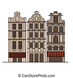 City sights. Brussels architecture landmark. Belgium country flat travel elements. Famous square Grand place. Facade historic houses.