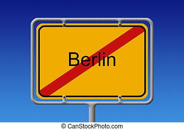 City Sign City Limit Berlin - Illustration of a german city...