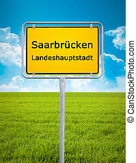 city sign of Saarbrücken - An image of the city sign of...