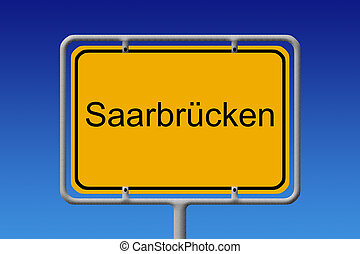 City Sign Saarbrucken - Illustration of a german city limit...