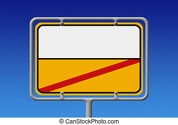 City Sign White Ye - Illustration of a german city sign with...