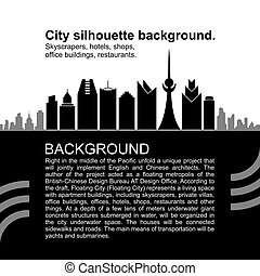 City silhouette background, black and white version