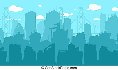 City silhouette background. Town downtown on blue sky woth clouds, urbanization vector background. Illustration cityscape scenery building