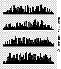 City silhouette collection with black color on transparrent background