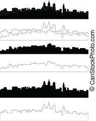 city silhouette in black, gray and with interpretation, eps...