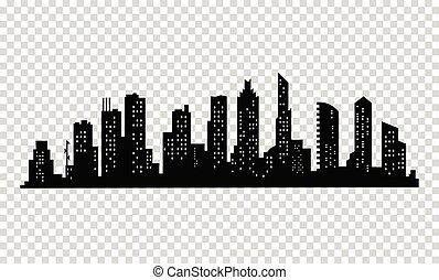 City silhouette. Modern urban landscape. Cityscape buildings silhouette on transparent background. City skyline with windows in a flat style