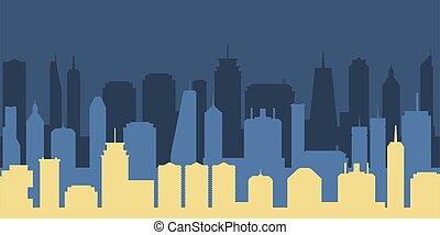 City silhouette night