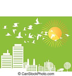 City silhouette on a green background. A vector illustration