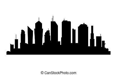City Silhouette on white background. Business district with skyscrapers.