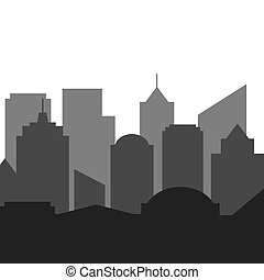 City silhouette vector on white background