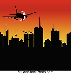 city silhouette with airplane vector illustration