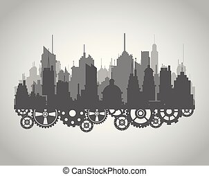 City silhouette with gears