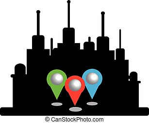 City silhouette with map pins isolated on white background
