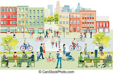 City silhouette with people on the sidewalk illustration.eps