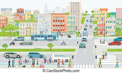 City silhouette with road traffic and cyclists on the cars bike path on urban street--.eps