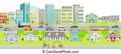 City silhouette with road traffic and cyclists on the cars bike path on urban street.eps