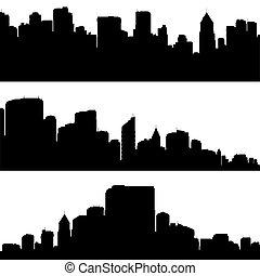 Set of three city panoramas silhouettes.