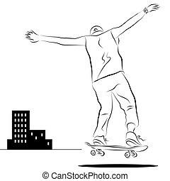 City Skateboard Rider Line Drawing