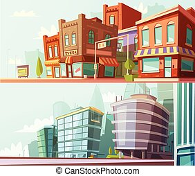 City Skyline 2 Horizontal Banners Set