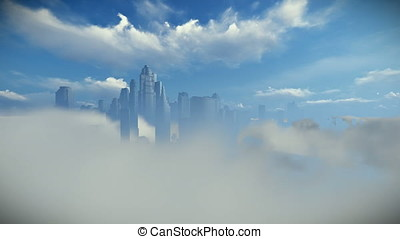 City skyline above clouds