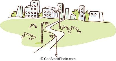City skyline and path