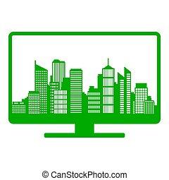 City skyline and screen