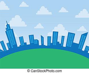 City Skyline Arc  - Daytime city skyline arc with clouds