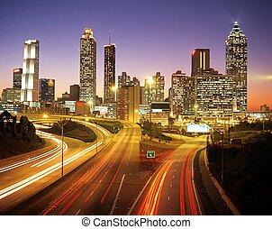 City skyline at dusk, Atlanta. - City skline at dusk,...