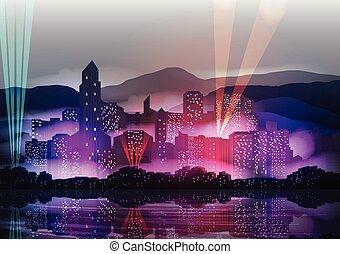City Skyline at Night Reflected