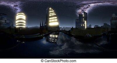City Skyline at Night under a Starry Sky. VR360
