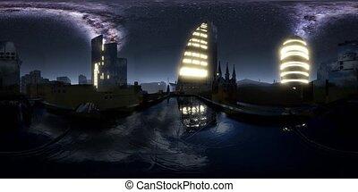 City Skyline at Night under a Starry Sky. VR360 - city ...