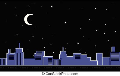 City skyline at night vector