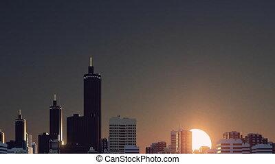 City skyline at sunrise time lapse 4K