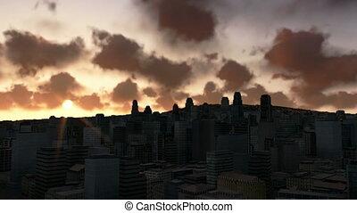 City skyline at sunrise, time lapse