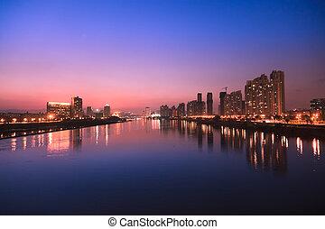 City skyline at twilight