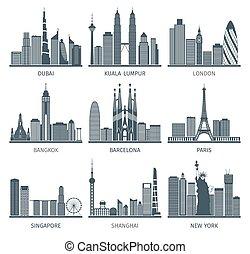 City skyline black icons set