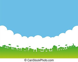 City skyline. Buildings cityscape. Big city streets. Blue sky with clouds. Vector illustration