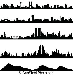 A skyline illustration of big cities in the world.