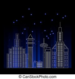 City skyline detailed silhouette. Trendy vector illustration, line art style. Vector